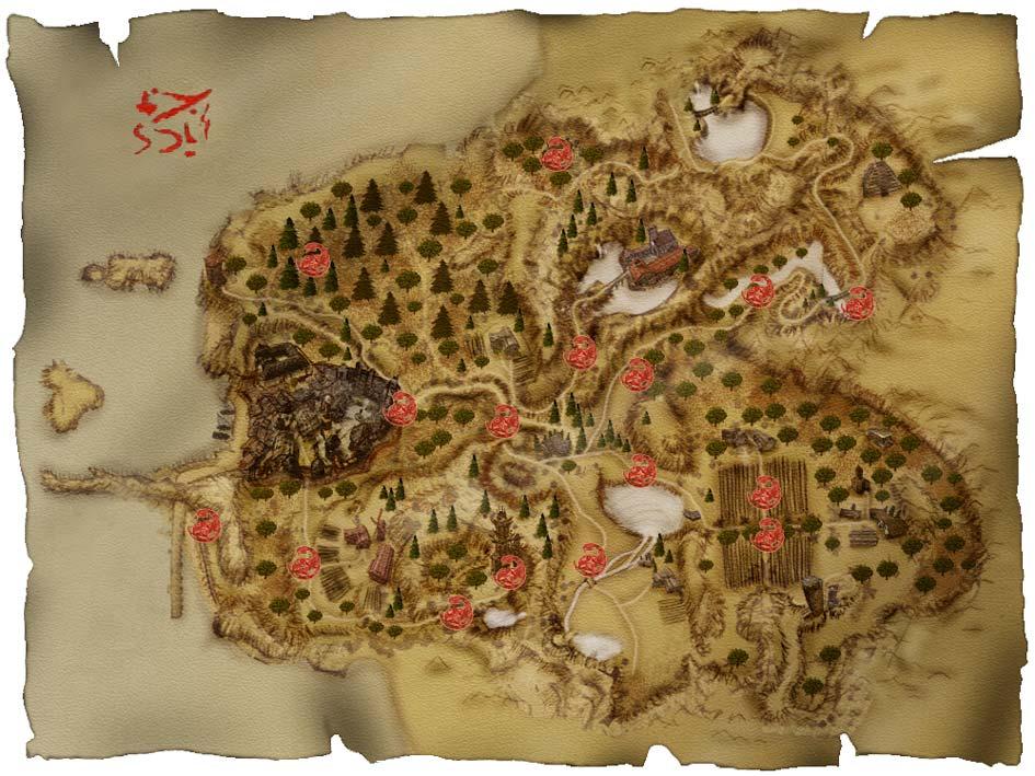 Карта Хориниса с отметками орков