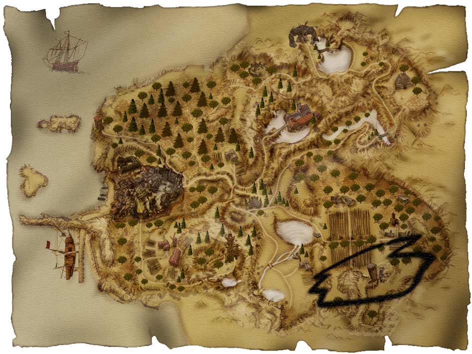 Карта Хориниса с отметкой Скипа