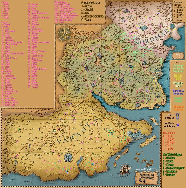 Карта расположения людей Готики 3